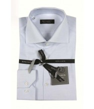 Benjamin Dress Shirt: Blue & White Dobby
