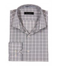 Benjamin Dress Shirt: Gray, White & Peach Plaid
