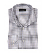 Benjamin Dress Shirt: White, Brown & Green Plaid