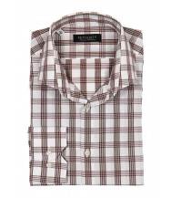 Benjamin Dress Shirt: White & Brown Plaid