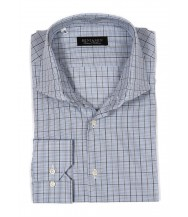Benjamin Dress Shirt: Blue, Green & Brown Plaid