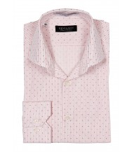 Benjamin Dress Shirt: White & Pink Stripes & Paisleys