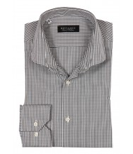 Benjamin Dress Shirt: White, Black & Grey Plaid