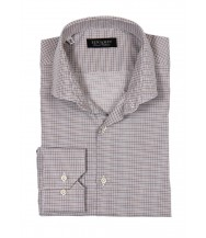 Benjamin Dress Shirt: White, Brown & Blue Plaid