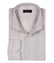 Benjamin Dress Shirt: White & Beige Plaid