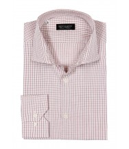 Benjamin Dress Shirt: White With Pink & Wine Plaid