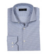 Benjamin Dress Shirt: White & Blue Plaid