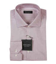 Benjamin Dress Shirt: White & Wine Pattern