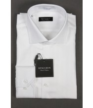 Benjamin Dress Shirt: White Tonal Stripe