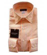 Benjamin Dress Shirt: Orange & White Stripes