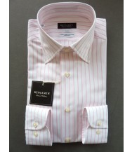 Benjamin Dress Shirt: White & Pink Stripes
