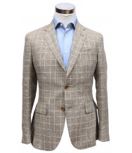 Bella Spalla Sport Coat: Brown, Beige and Blue Check