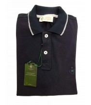 Borrelli Polo Shirt: Small Short Sleeve Navy Blue White Trim