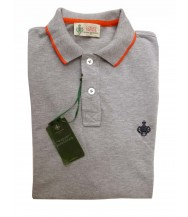 Borrelli Polo Shirt: Medium Short Sleeve Grey with Orange Trim