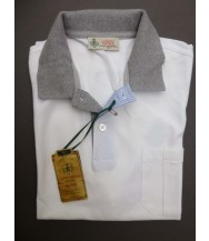 Borrelli Polo Shirt: Medium Short Sleeve White with Grey Trim