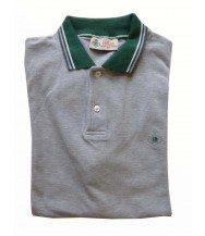 Borrelli Polo Shirt: Medium Short Sleeve Grey with Green Trim