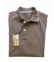 Borrelli Polo Shirt: X-Small Short Sleeve Light Brown with Grey Trim