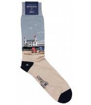 Corgi Sock: Large Brighton scene cotton blend