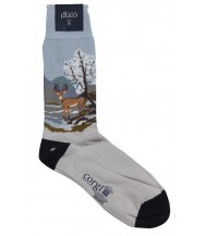 Corgi Sock: Winter Stag Scene