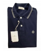 Della Ciana Polo Shirt: X-Small Short Sleeve Navy with Grey Trim