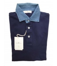 Della Ciana Polo Shirt: Medium Short Sleeve Navy with Chambray Trim