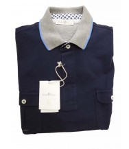 Della Ciana Polo Shirt: Medium Short Sleeve Navy with Grey Trim
