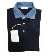 Della Ciana Polo Shirt: X-Small Short Sleeve Navy with Chambray Trim