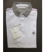 Della Ciana Polo Shirt: Medium Short Sleeve White with Grey Trim