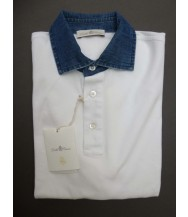 Della Ciana Polo Shirt: Medium Short Sleeve White with Chambray Trim