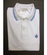 Della Ciana Polo Shirt: Medium Short Sleeve White with Sky Trim