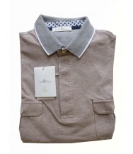 Della Ciana Polo Shirt: Medium Short Sleeve Mushroom with Grey Trim