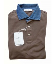 Della Ciana Polo Shirt: X-Small Short Sleeve Cocoa with Chambray Trim