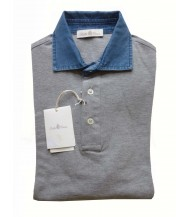 Della Ciana Polo Shirt: X-Small Short Sleeve Grey with Chambray Trim