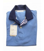 Della Ciana Polo Shirt: X-Small Short Sleeve Sky with Navy Trim