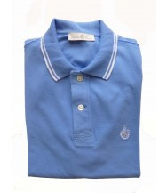 Della Ciana Polo Shirt: Medium Short Sleeve Sky with White Trim