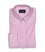 The Wardrobe Casual Shirt: Pink and White Bengal Stripe