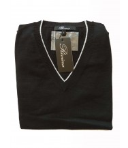 Riviera Sweater: Black Long Sleeve V-neck