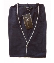 Riviera Sweater: Blue Sleeveless Cardigan