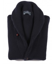 The Wardrobe Sweater Navy Blue Shawl Collar