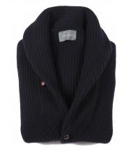 The Wardrobe Sweater Navy Shawl Collar