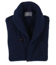 The Wardrobe Sweater Regatta Blue Shawl Collar